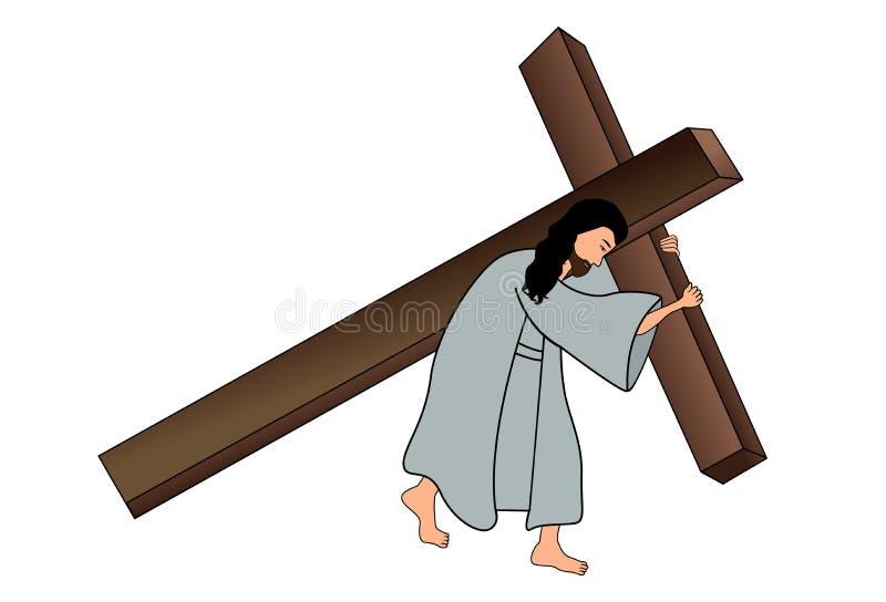 Jesus die het kruis dragen vector illustratie