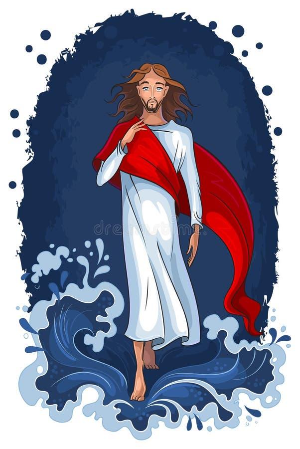 Jesus die op water loopt royalty-vrije illustratie