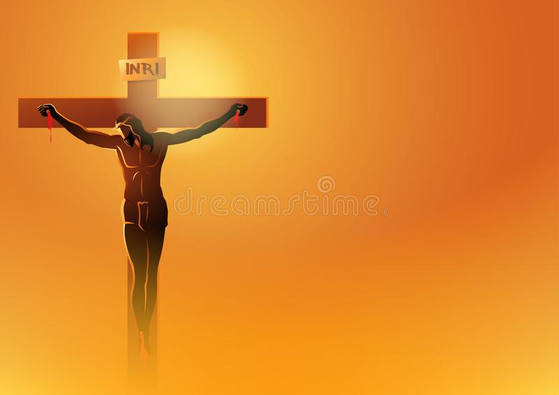 Jesus Dies On The Cross. Biblical vector illustration series. Way of the Cross or Stations of the Cross, Jesus Dies On The Cross vector illustration