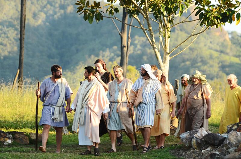 Jesus Christ teaching walking his disciples The Passion play Easter, Lake Moogerah stock image