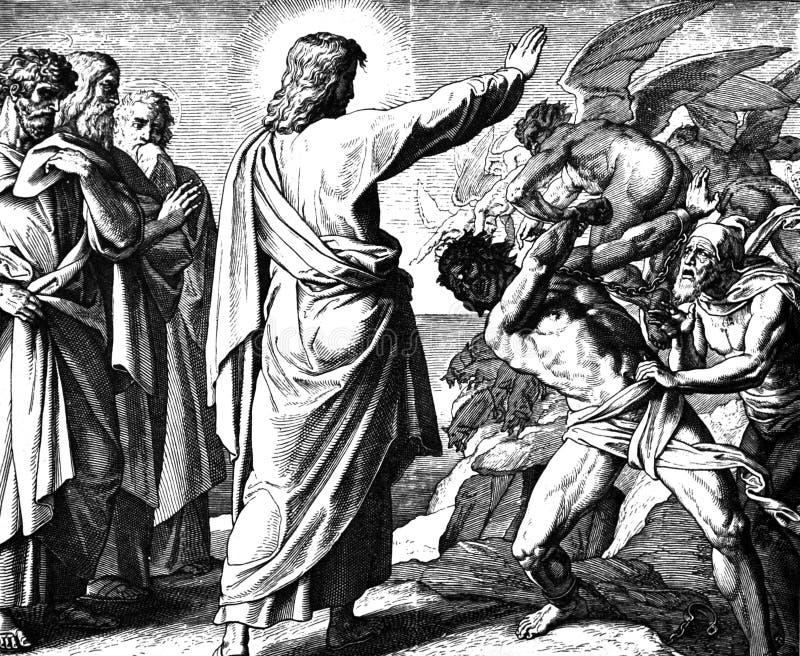 Jesus Drives Out ein Dämon stockbild