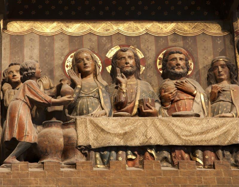Jesus durch miracele in Cana - Notre Dame - Paris lizenzfreies stockbild