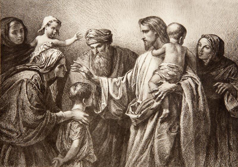 Jesus e bambini - incisione fotografia stock