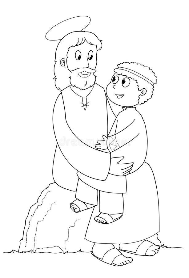 Jesus e bambino - BW illustrazione di stock