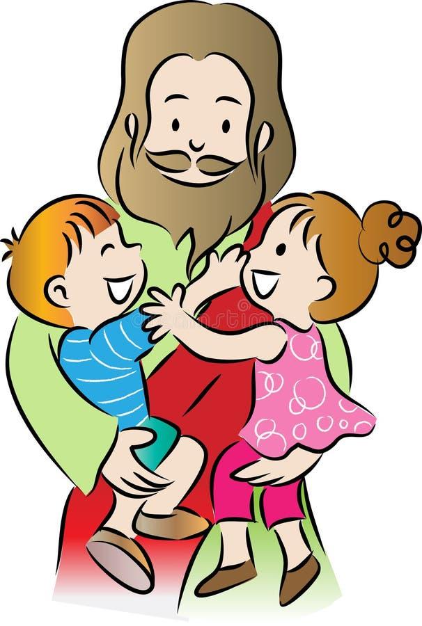 Jesus e crianças foto de stock