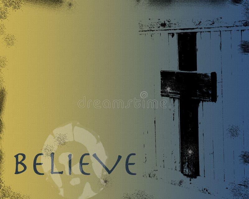 Jesus e cruz em Grunge ilustração do vetor
