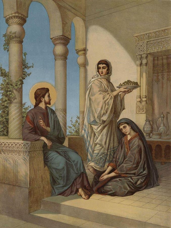 Jesus e duas irmãs ilustração royalty free