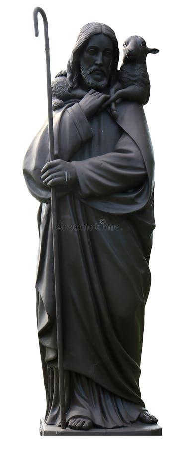 Jesus e a estátua do cordeiro fotografia de stock