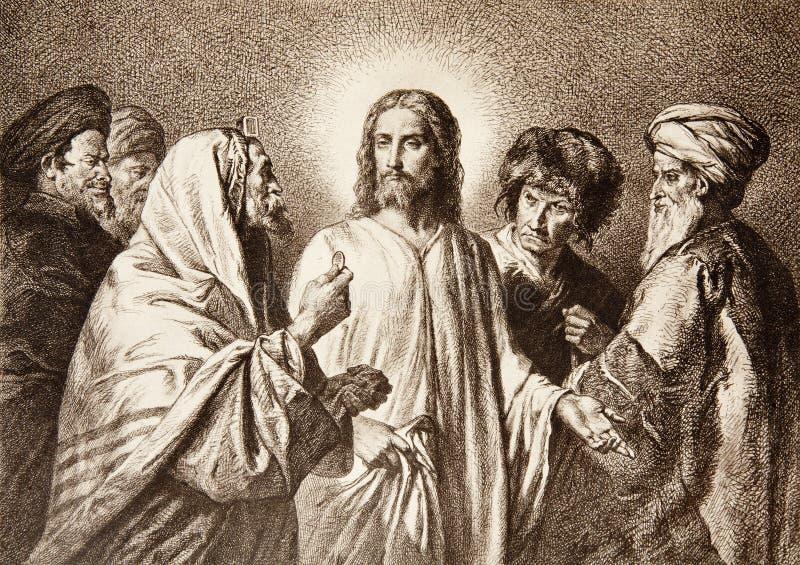 Jesus e o dinheiro ilustração stock