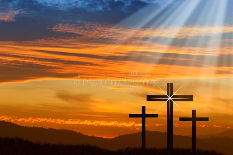 Jesus Easter Cross royalty-vrije stock foto's