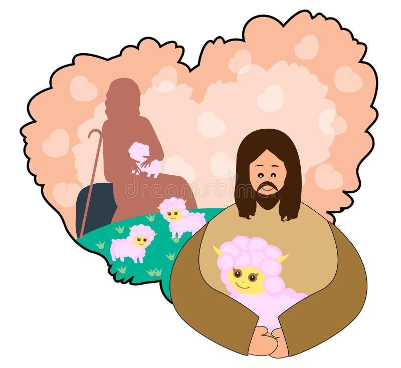 Jesus is een goede herder stock illustratie