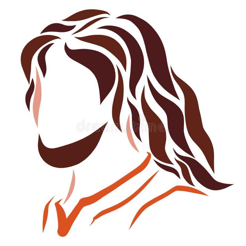 Jesus, een schets van gekleurde vlotte lijnen, een hoofd stock illustratie