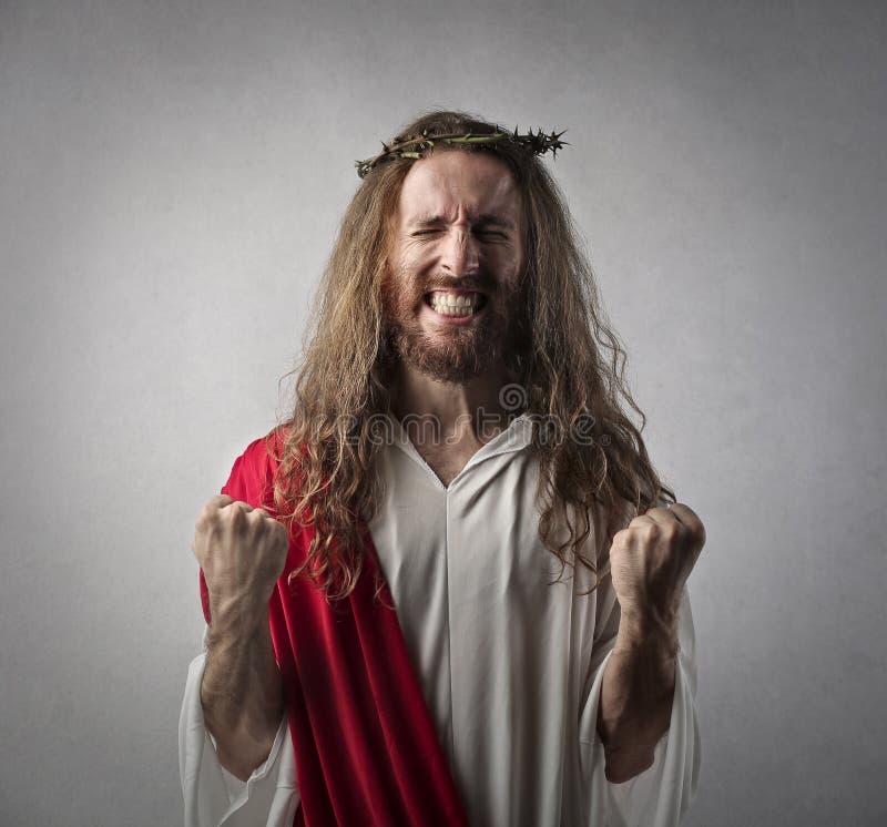 Jesus in een triomfpositie royalty-vrije stock afbeeldingen
