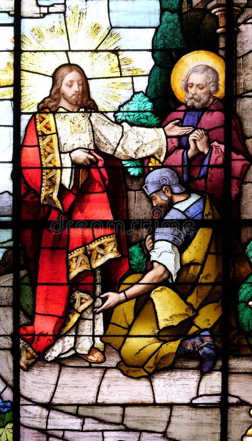 Jesus en centurion Lord, ben ik niet waardig om u te hebben onder mijn dak komen royalty-vrije stock afbeelding
