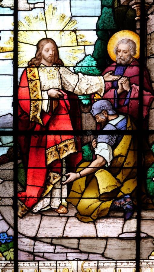 Jesus en centurion Lord, ben ik niet waardig om u te hebben onder mijn dak komen stock foto