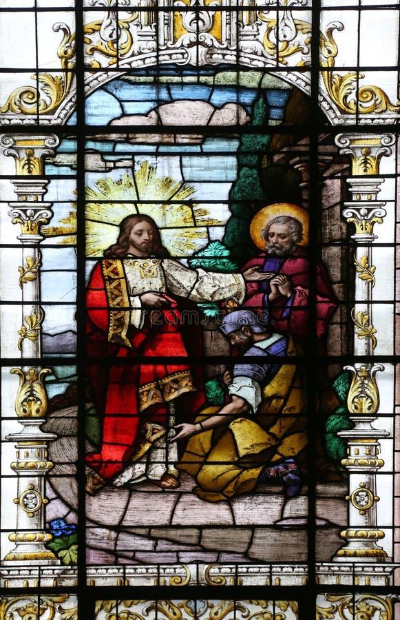 Jesus en centurion Lord, ben ik niet waardig om u te hebben onder mijn dak komen royalty-vrije stock fotografie