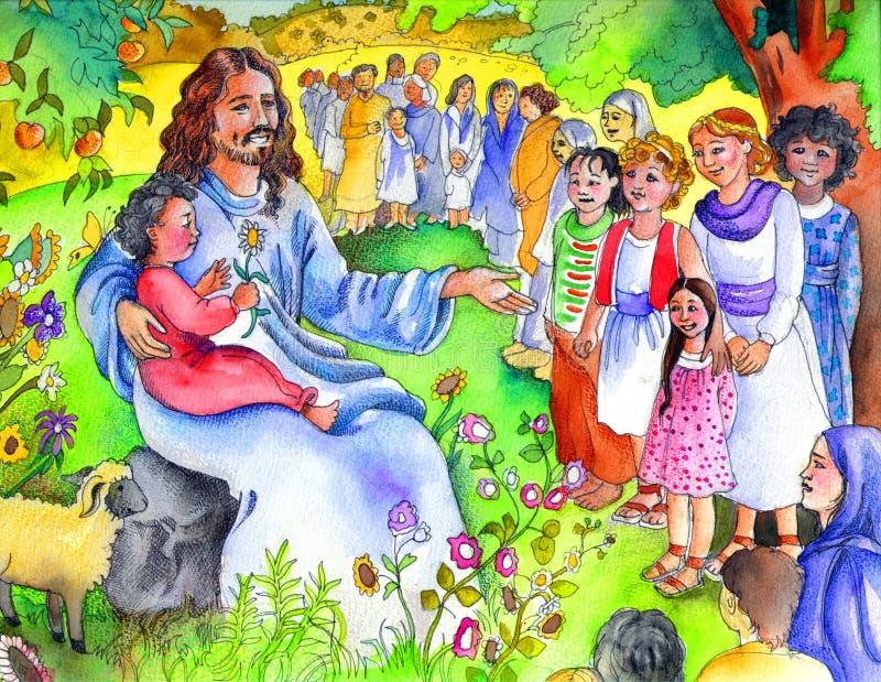 Jesus en de Kleine Kinderen | De Kinderen van de bijbel royalty-vrije illustratie
