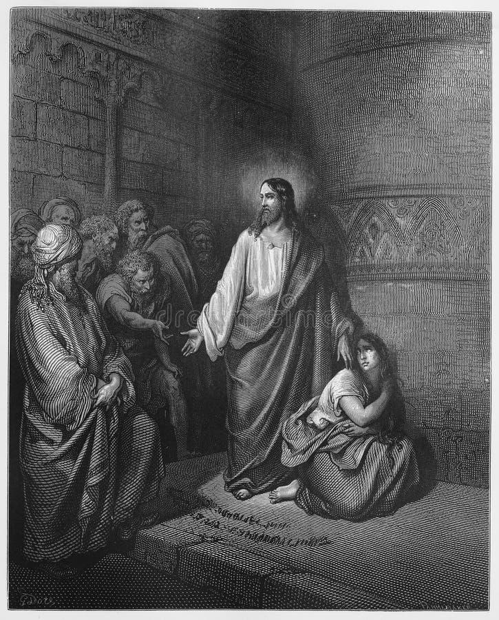 Jesus en de Vrouw die in Overspel wordt genomen royalty-vrije illustratie