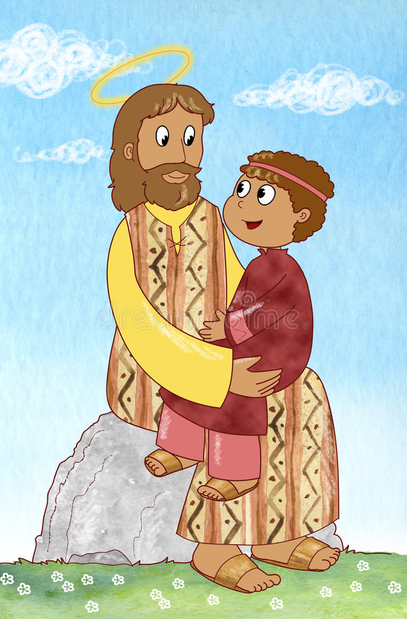 Jesus en kind royalty-vrije illustratie
