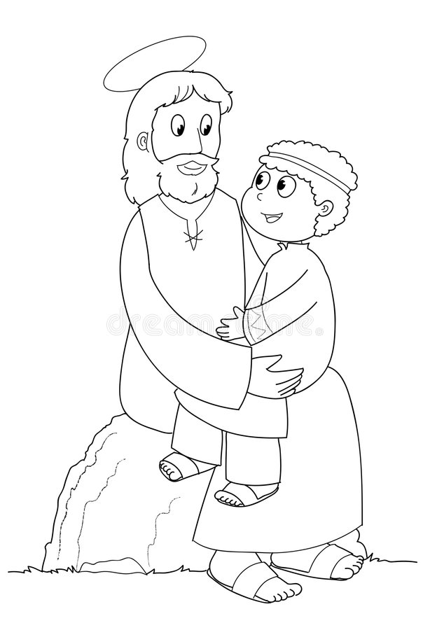 Jesus en kind - BW stock illustratie