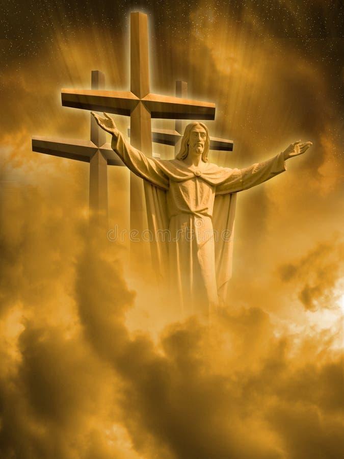 Jesus en kruisen royalty-vrije illustratie