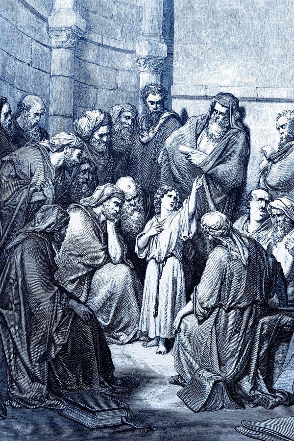 Jesus entre os professores ilustração royalty free