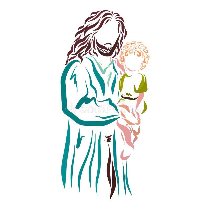 Jesus está guardando uma criança imagens de stock