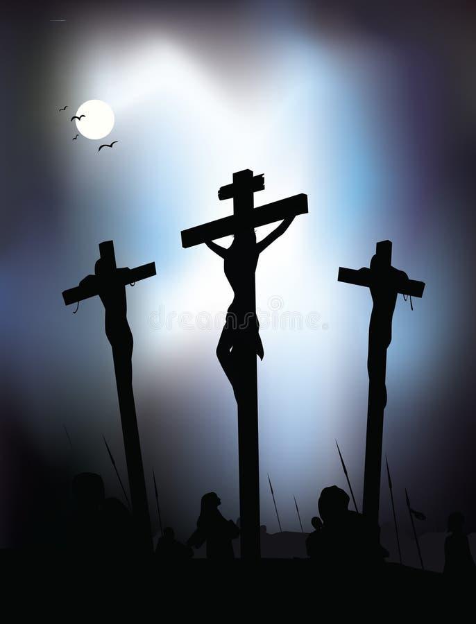 jesus för christ crucifixionillustration vektor stock illustrationer