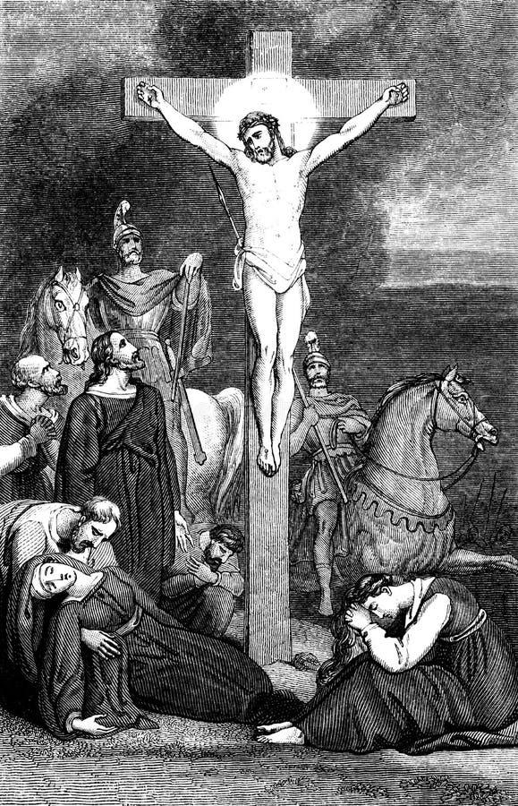 jesus för crucifixion för bibelchrist kors tema royaltyfri illustrationer