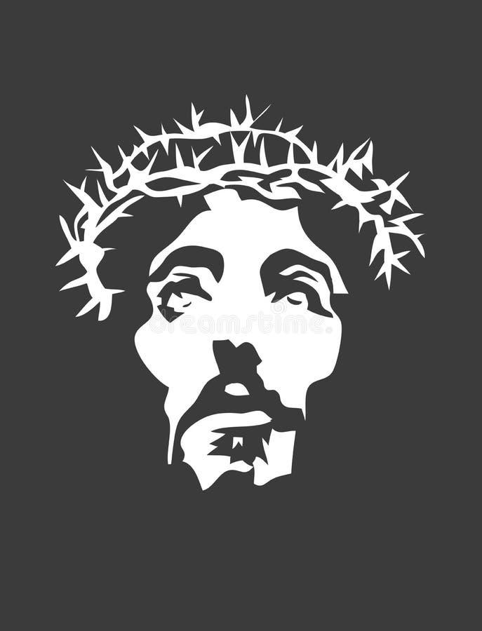 Jesus Face Silhouette stock vector. Illustration of cross ...