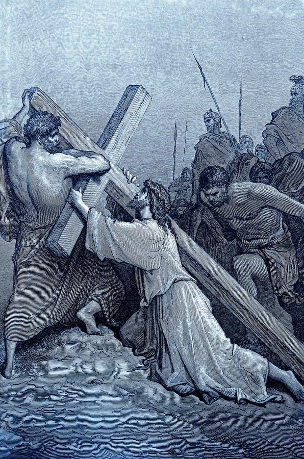 Jesus Falls met het Kruis vector illustratie