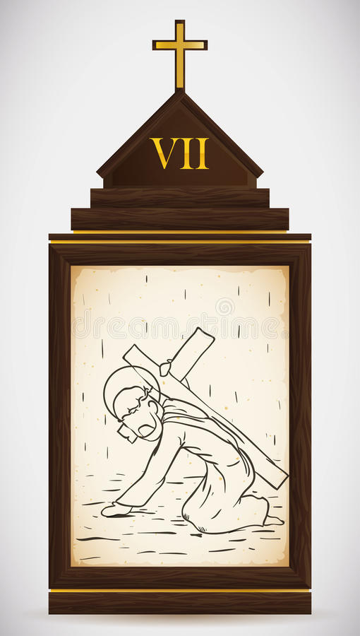 Jesus Falls the Second Time, Vector Illustration stock image