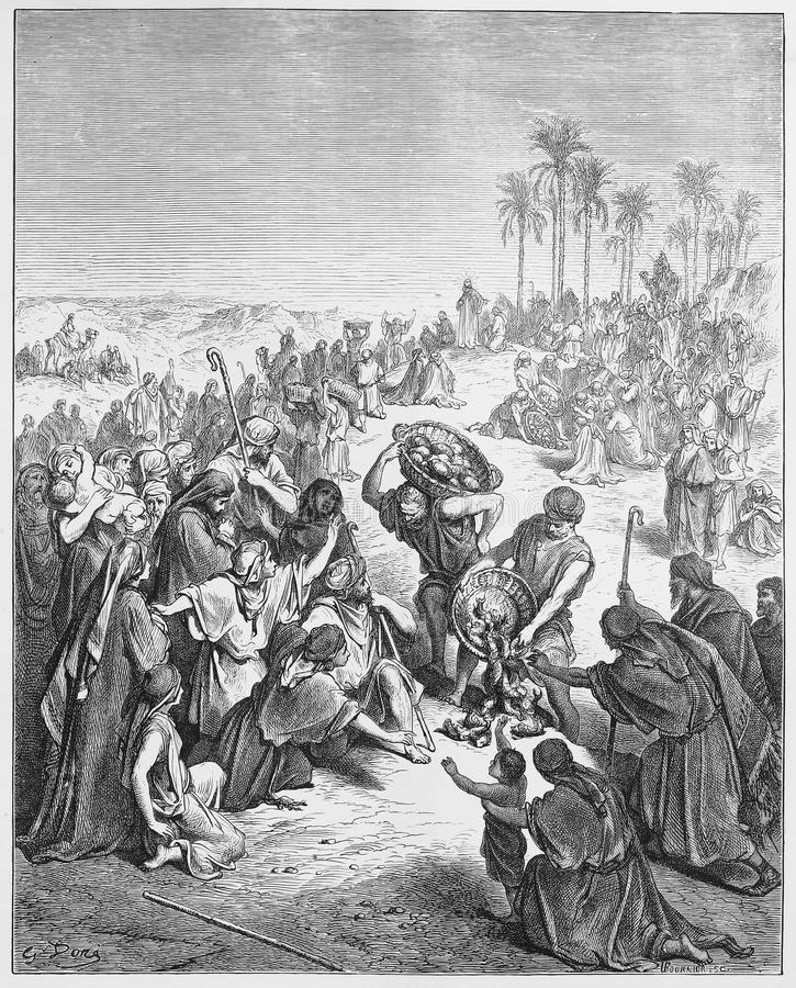 Jesus feeds the people. Picture from The Holy Scriptures, Old and New Testaments books collection published in 1885, Stuttgart-Germany. Drawings by Gustave stock photo