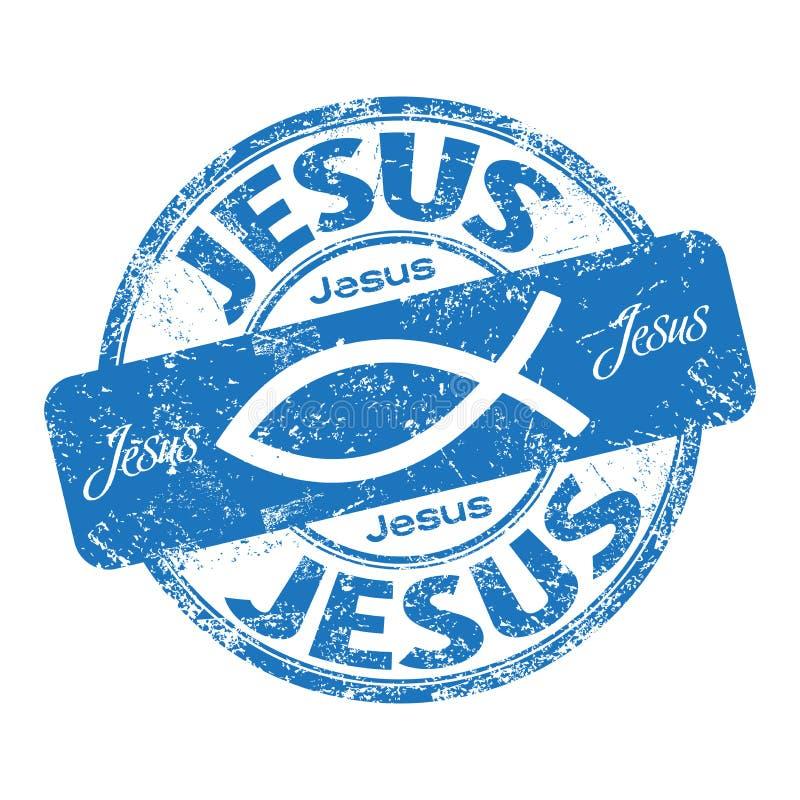 Jesus fish rubber stamp royalty free stock photo