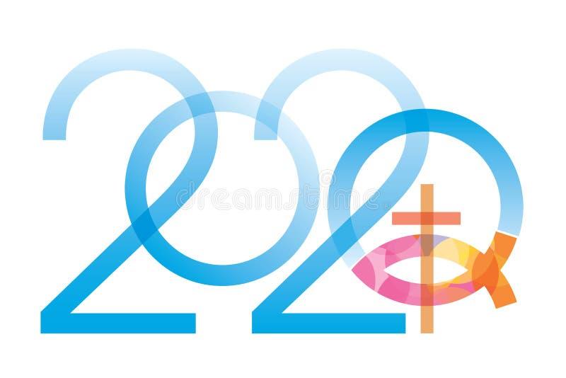 Jesus fish symbol new year. vector illustration