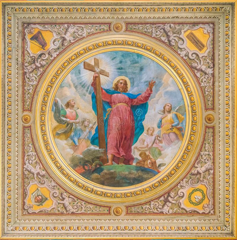 Jesus fresco in the ceiling of the Church of the Suore Missionarie di Gesù Eterno Sacerdote, in Rome, Italy. stock image