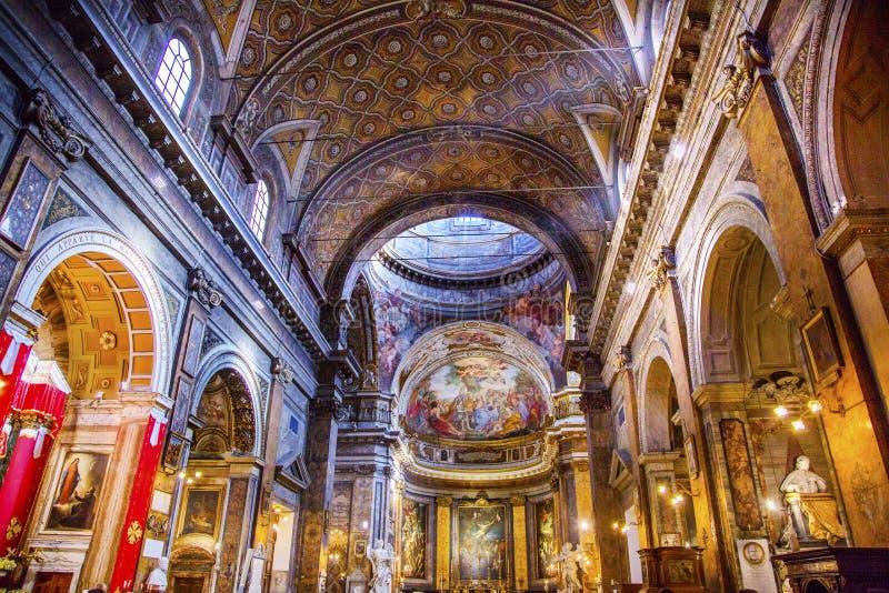 Jesus Fresco Dome Ceiling Santa Maria Maddalena Church Rome Ita immagine stock libera da diritti