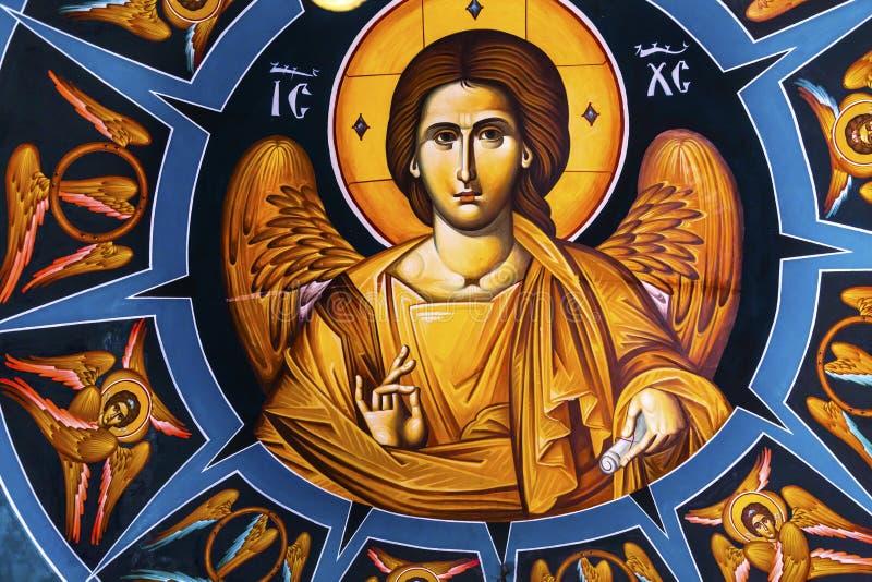 Jesus Fresco Dome Greek Orthodox-Kirche Bethany Beyond Jordan stockfotos