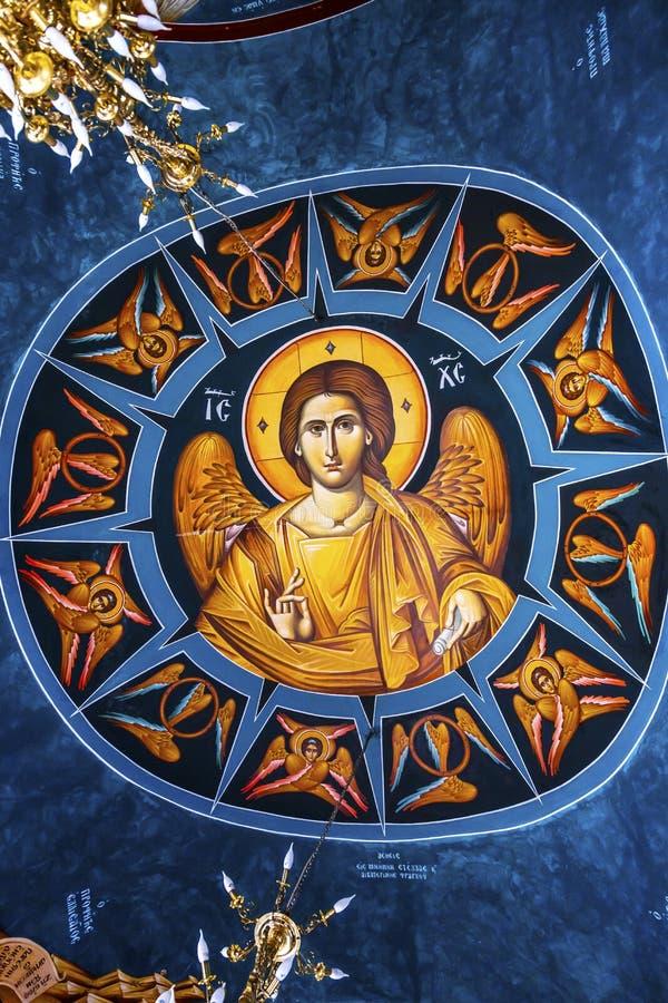 Jesus Fresco Dome Greek Orthodox-Kirche Bethany Beyond Jordan lizenzfreie stockfotografie