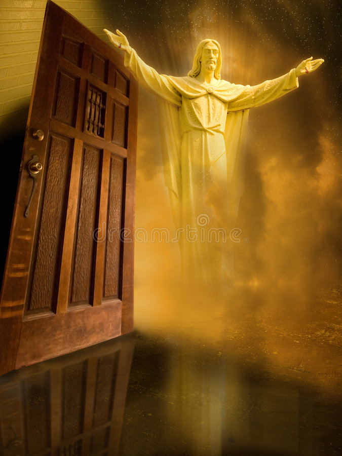 Jesus gaat deur in royalty-vrije stock foto's