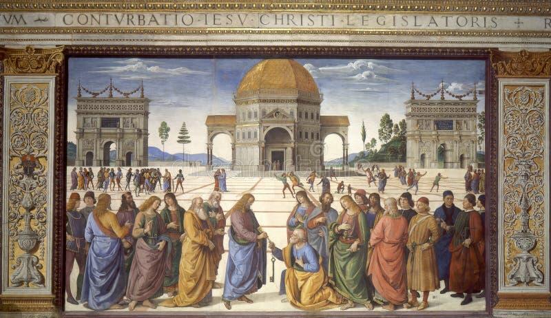 Jesus geeft de sleutels van het Koninkrijk van Hemel royalty-vrije stock afbeeldingen