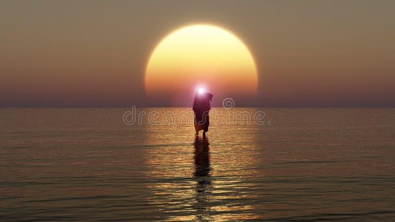 Jesus geht auf Wasser, Wunder von Jesus Christ, der Prophet des Gottes, Wiedergabe 3D lizenzfreie abbildung