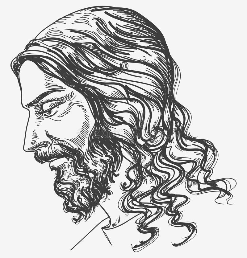 Jesus' gentle sight. Jesus Christ profile portrait; hand drawn illustration royalty free illustration