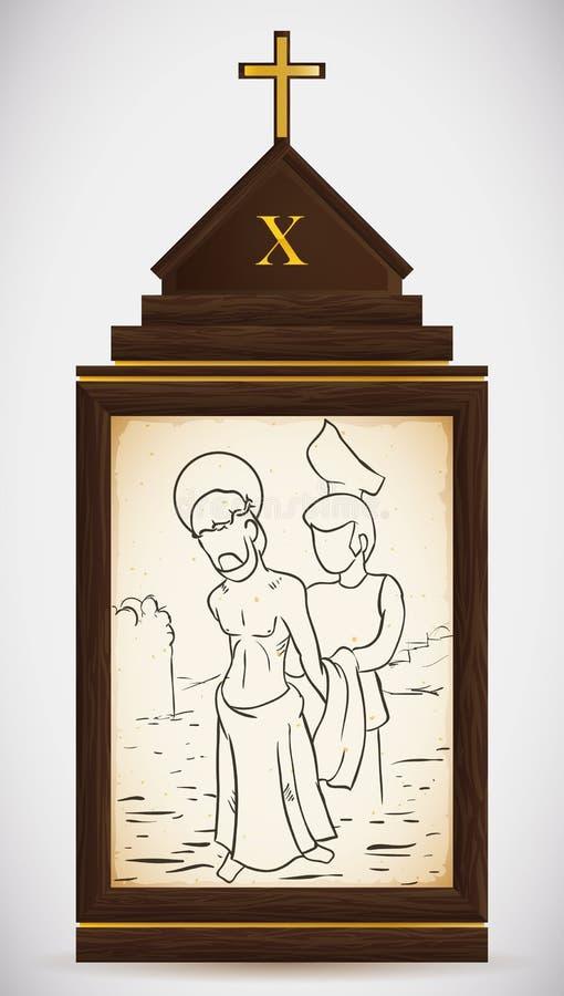 Jesus is Gestript van zijn Kledingstukken, Vectorillustratie vector illustratie