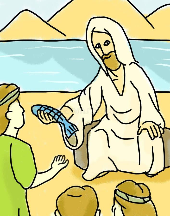 Jesus Giving Fish Sea della Galilea illustrazione vettoriale