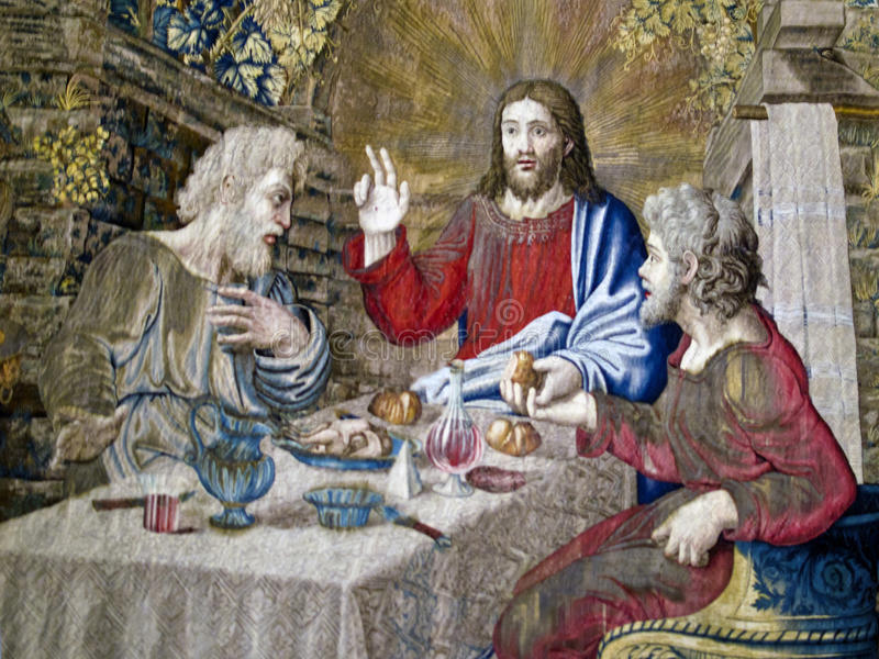 Jesus - gobeläng, Vaticanenmuseer royaltyfri foto