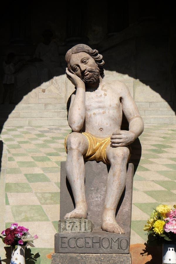 Jesus on Good Friday. Catholic wayside shrine with statue of Jesus on Good Friday in Scitarjevo, Croatia stock images