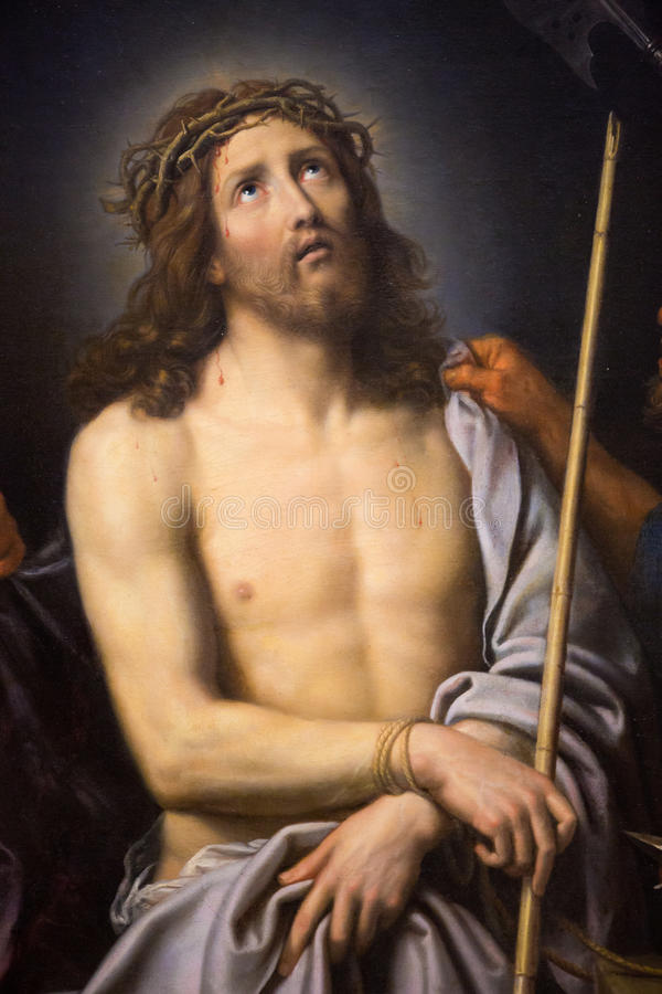 Jesus on Good Friday - painting in Museum of Rouen. Painting depicting Jesus on Good Friday, in the Museum of Rouen, France. This painting was created by Pierre stock image