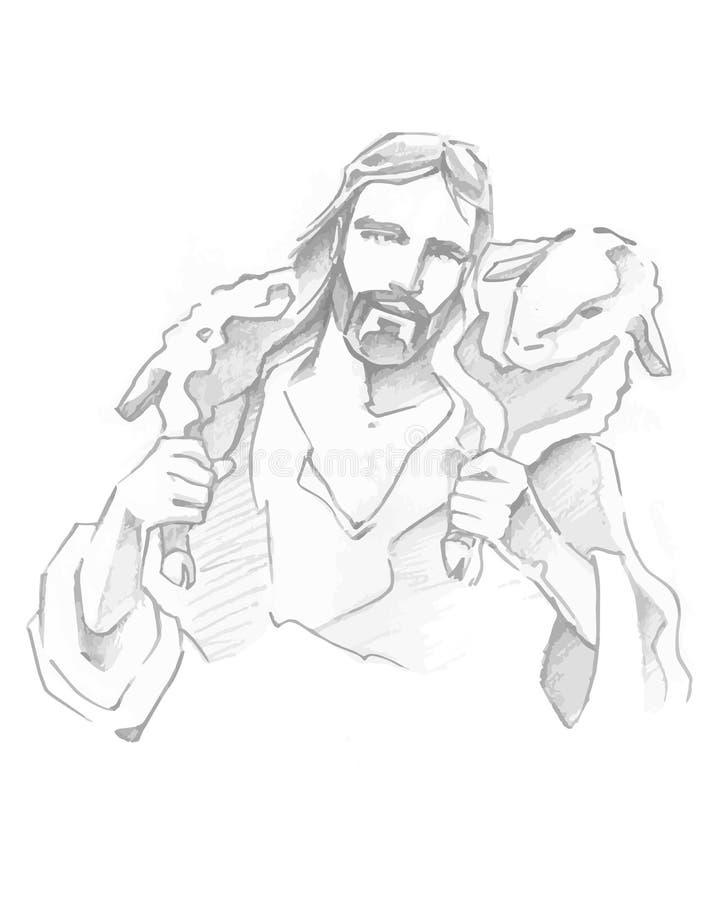 Jesus Good Shepherd illustration stock