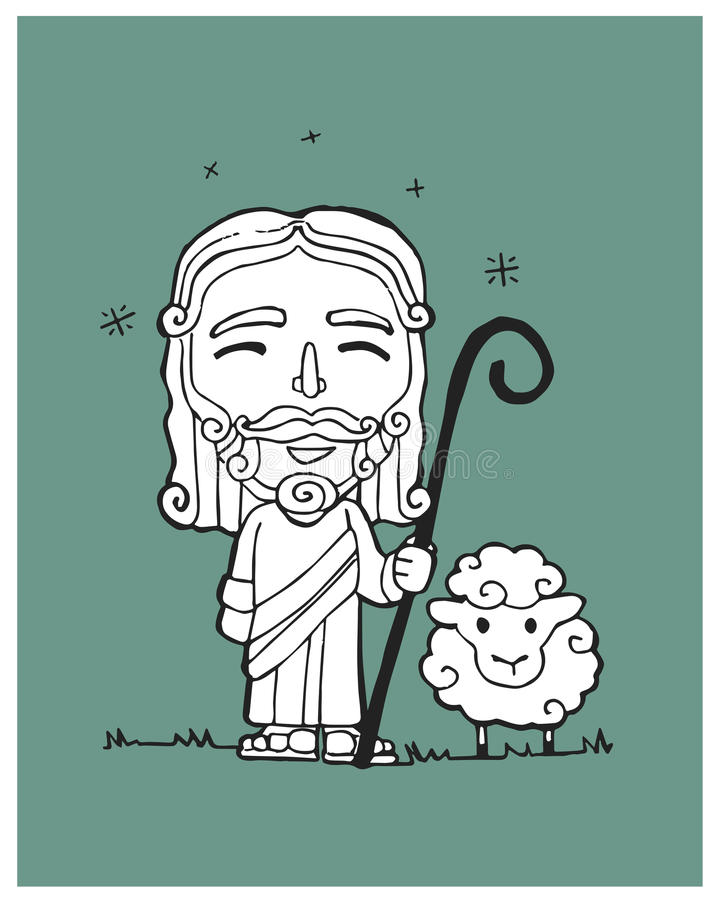 Jesus Good Shepherd b illustration libre de droits